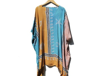 Vintage Cotton Crepe Poncho Style Oversized Top