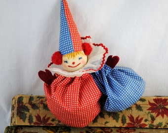 Vintage Hand Made Clown Toy, Bean Bag Toy, Fabric Clown Handmade , Red Blue White Dots , Rustic Cabin , Retro , Child's Toy , Hand Crafted