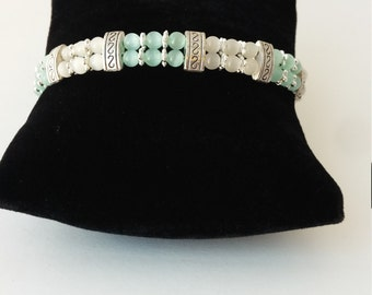 Teal and white cats eye bracelet