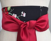 Bright red satin asian print obi, obi belt sash cotton black print, cherry blossom print obi belt sash, reversible red satin obi