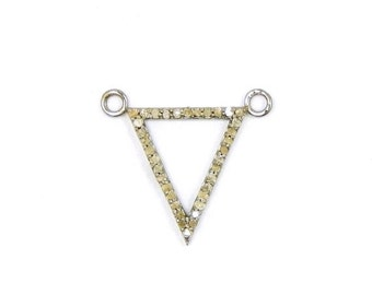 10% off Valentines Day Diamond Triangle Pendant Sterling Silver Triangle with Pave Diamond Double Bail Charm Pendant Connector (EX24-07)