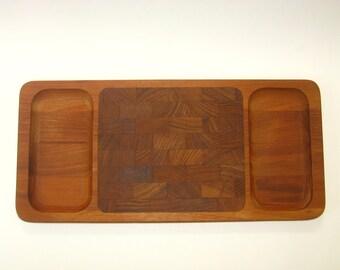 Dansk Denmark JHQ Teak Cheese Tray / Large Rectangular End Grain Cutting Board - 1960s Mid Century Danish Modern