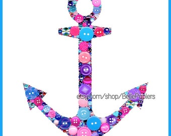 Anchor Decorations Button Art Anchor Art Button & Swarovski Rhinestones Nautical Art Button and Swarovski Anchor bid day rush DG Art