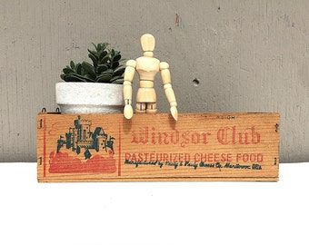 Wood CHEESE BOX | Windsor Club Cheese | Small Wooden Cheese Crate | Vintage (c.1940's) Wooden Advertising Storage Box | Industrial