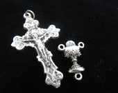 Italian Made Ornate Crucifix with Matching Communion Chalice Rosary Center