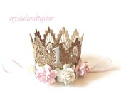 Ready to Ship, Gold Birthday Crown, Light Pink and Ivory Flowers, Lace Crown, Gold Crown, Birthday Tiara, Baby Girl Crown