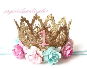 Lace Gold Crown, Light Pink, Pink and Mint Crown, Baby Girl Crown, Birthday Lace Crown, Gold Crown, Birthday Crown, Baby Crown