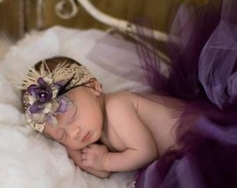 Baby Girl Headband, Floral Headband, Baby Girl Headband, Feather Headband, Lavender and Ivory Headband, Lace Headband