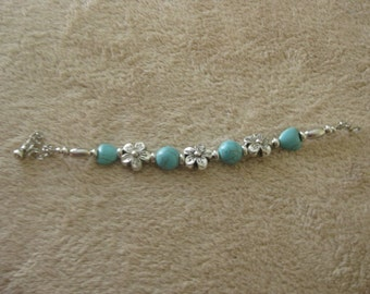 EB04 Turquoise and Tibetan Silver bracelet with extension chain