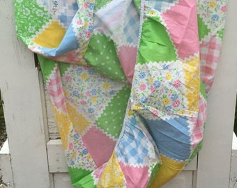 Vintage, sheet, twin, fitted, patchwork floral, checkered pink, green, blue, yellow, flowers, bedding, linens, fabric, fitted sheet, fitted