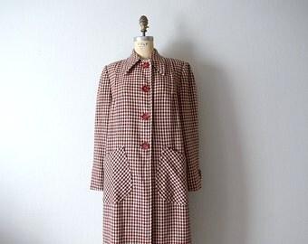 Vintage 1940s coat . 40s wool plaid jacket . large