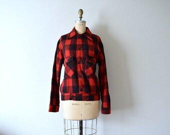 50% SALE . 1940s wool plaid jacket . vintage 40s 50s coat