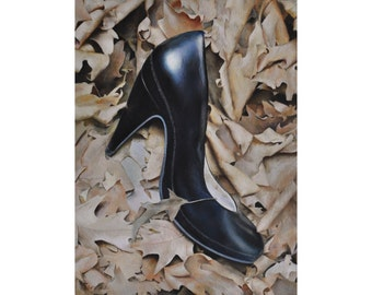 """Heeled, 9"""" x 12"""" original oil painting on cradled wooden panel, one-of-a-kind, 3/4"""" thick"""