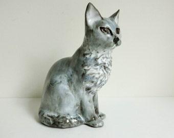 Vintage Art Pottery Cat Sculpture - Sleek Gray Cat Figurine -  Modern Minimalist Decor - Rustic Decor - Unique Gift for Cat Lover