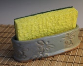 Dragonfly Sponge Holder - green and blue with dragonfly imprints
