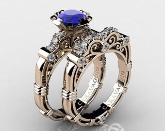 Art Masters Caravaggio 14K Rose Gold 1.0 Ct Blue Sapphire Diamond Engagement Ring Wedding Band Set R623S-14KRGDBS