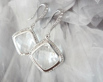 Crystal clear wedding earrings ~ Diamond shaped ~ Sterling Silver wires ~Brides earrings  Bridesmaids ~ Wedding Jewelry ~  Gift
