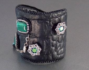 Free Shipping, Bead Embroidery, Bracelet, Cuff, Seed bead bracelet, Trending jewelry,Crocodile textured leather, Malachite, Swarovski,