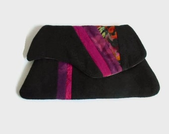 Small Quilted Evening Bag Clutch Purse Black Raw Silk Needle Felted Shibori Silk on Wool Accent