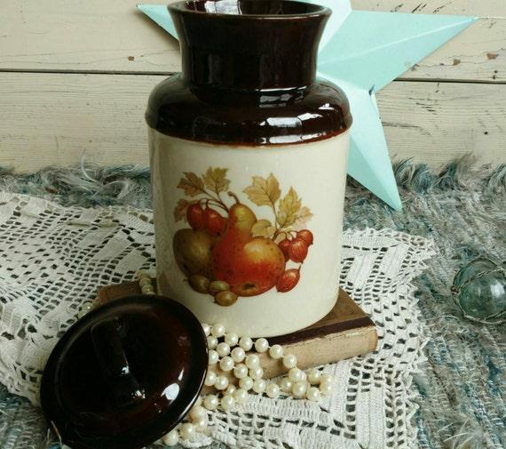 Country Kitchen Pottery Cookie Jar by USA With Fruit Pattern on Sale - Retro + Vintage Kitchen Stoneware + Home Decor Kitchen Decor SALE