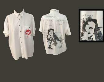 Edgar poe - hand painted one of a kind wearable art
