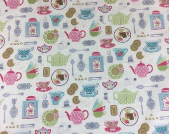 Makower Tea Party Tea Set cotton craft fabric by the fat quarter