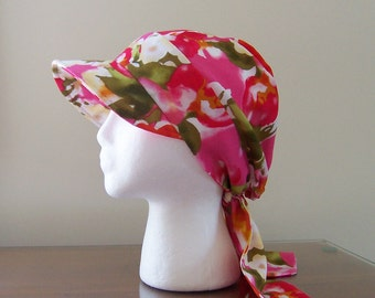 Baseball Style Chemo Cap with Ties in Pink Floral Cotton for Women Ready to Ship Donation Made to Cancer Society