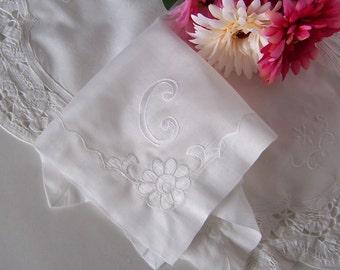 Wedding Handkerchief Monogrammed C for a Bride's Something Old Keepsake, Bridal Hanky Shower Gift Initial C in White