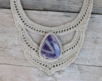 White bib necklace, Crochet necklace, Bib statement necklace, Women fashion jewelry, Amethyst necklace, Fiber jewelry, Big necklace, AmorArt