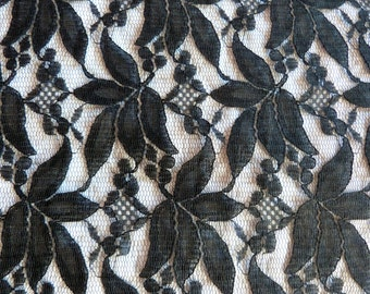 French antique long black floral lace for making shawl wrap mantilla veil, HUGE deadstock unused black lace, gothic steampunk sewing supply