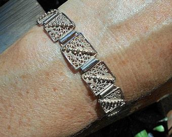 Sterling Silver Filigree Bracelet.  . Marked on Clasp.  Only 39.90.
