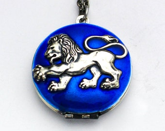 Silver Lion Locket Neckace, Blue Necklace, Heraldic Lion Necklace, Lion Necklace, Wedding Necklace, Silver Lion Locket, Something Blue, Gift