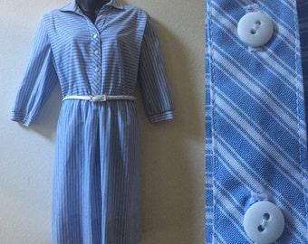 1980s shirtwaist dress, XL vintage dress, blue white striped dress, Lady Carol of New York, chambray dress, midi, extra large, plus size