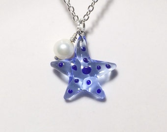 Glass Starfish Necklace Fresh Water Pearl Mothers Day Gift Friendship Gift Beach Jewelr
