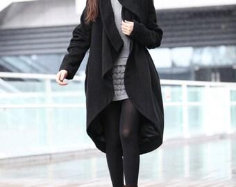 ON SALE Size L Black Coat Bud Wool Coat Long Wool Coat Winter Coat Long Sleeve Coat Jacket for Women - NC197-2