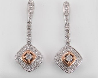 REDUCED PRICE Diamond Drop Earrings Wedding Earrings Pink Rose Gold Heart White Gold