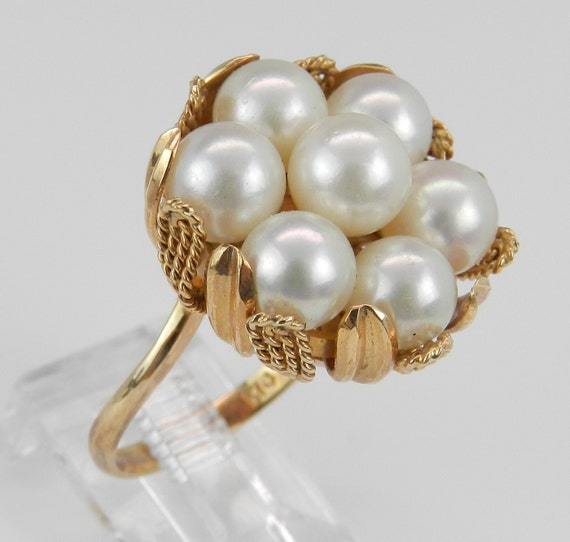 Pearl Ring Cluster Ring Statement Ring Vintage Ring Estate 14K Yellow Gold Size 6.5 Circa 1950's