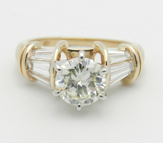 Diamond Engagement Ring 18K Yellow Gold 1.60 ct Genuine Natural EGL Certificate