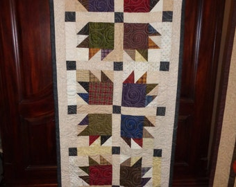 Bear's Paw Table runner Quilt, plaids and neutral quilt, scrappy  0323-01