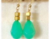 Green Faceted Teardrop Chalcedony & Brass earrings. 24K gold plated earwire