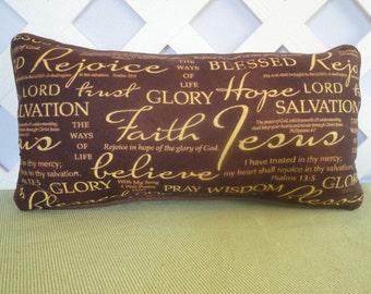 Religious Pillow in Brown and Golden Tan / Brown Pillow / Scripture Pillow / Bible Verse Pillow / Accent Pillow