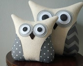Neutral Owl Throw Pillow - Grey Chevron & Polka Dots - Spring Collection - Large or Small - Gray Pillow