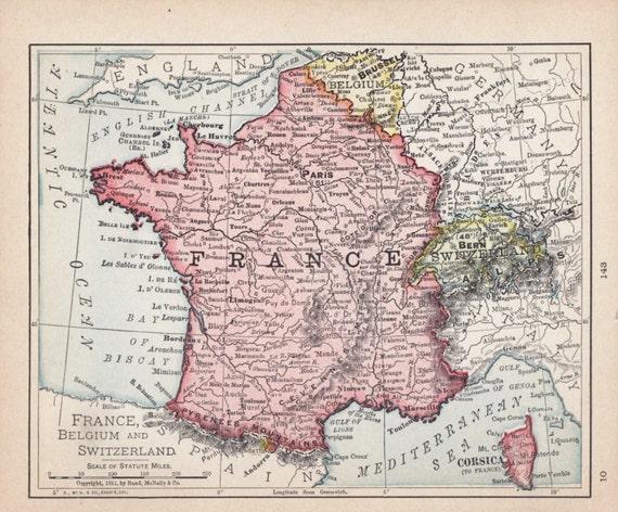 Small France Map Of Belgium Antique Wall Decor Color Switzerland Atlas Art Print No 143 3
