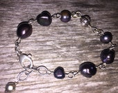 Wire Wrapped Black Pearl Bali Bead Rustic Bracelet Oval Rolo Texture Chain Extension Handcrafted Artisan Jewelry