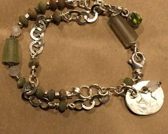 Multi Strand Gemstone Bracelet - Wire Wrapped - Roman Glass - Charms - Artisan Jewelry - Rustic  Style