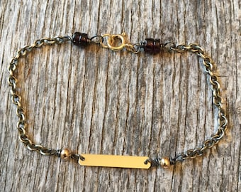 Mixed Metals - 14 K Solid Gold Bar - Oxidized Sterling Silver Bracelet - Garnets - Rustic Boho Gold Jewelry