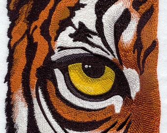 Eye of the Tiger Embroidered on Kona Cotton Quilt Block // Plain Weave Cotton Dish Towel // Also Available on Other Items