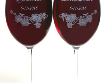 Mr and Mrs Wine Glasses - 2 Large Personalized Crystal Wine Glasses with Cherry Blossoms, Wedding Gift, Anniversary Gift