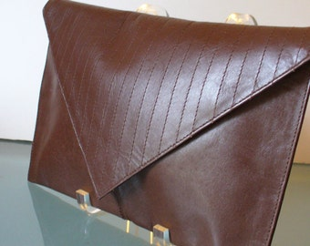Vintage Tano Chocolate Leather Envelope Clutch