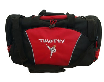 Duffel Bag Personalized Karate Boy Martial Arts Kung Fu Tae Kwon Do Asian Sensai Kick Boxing Black Belt Gym
